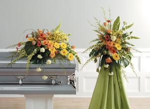 Yellow & Green Casket Sprays