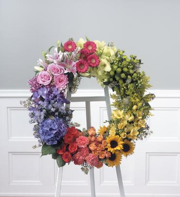Multi-colored Wreath on easel